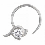 Diamond Nose Ring 0.05Ct Round Shape Natural Certified Solid White Gold